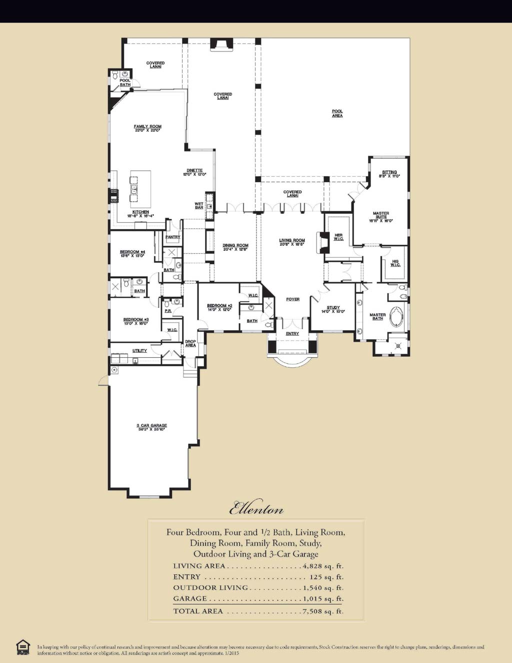 Ellenton Floor Plan in Bay Woods, Stock Construction, Four Bedroom, Four and 1/2 Bath, Living Room, Dining Room, Family Room, Study, Outdoor Living and 3-Car Garage