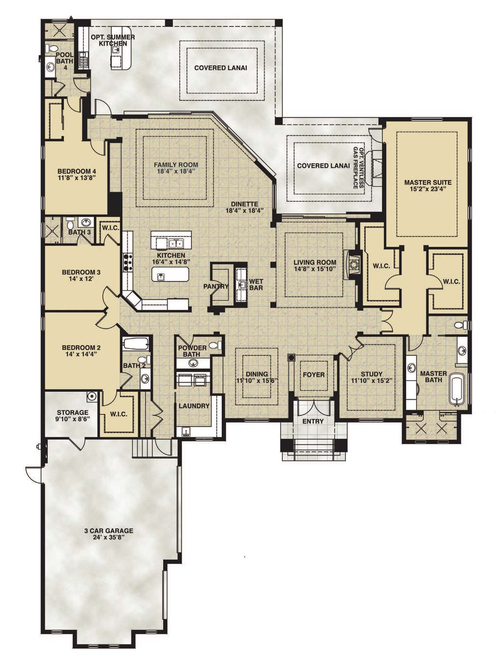 Stella Floor Plan in Bay Woods, Stock Construction, Four Bedroom / Four and One Half Bath / Living Room / Family Room / Dining Room / Study / Outdoor Living / 3-Car Garage