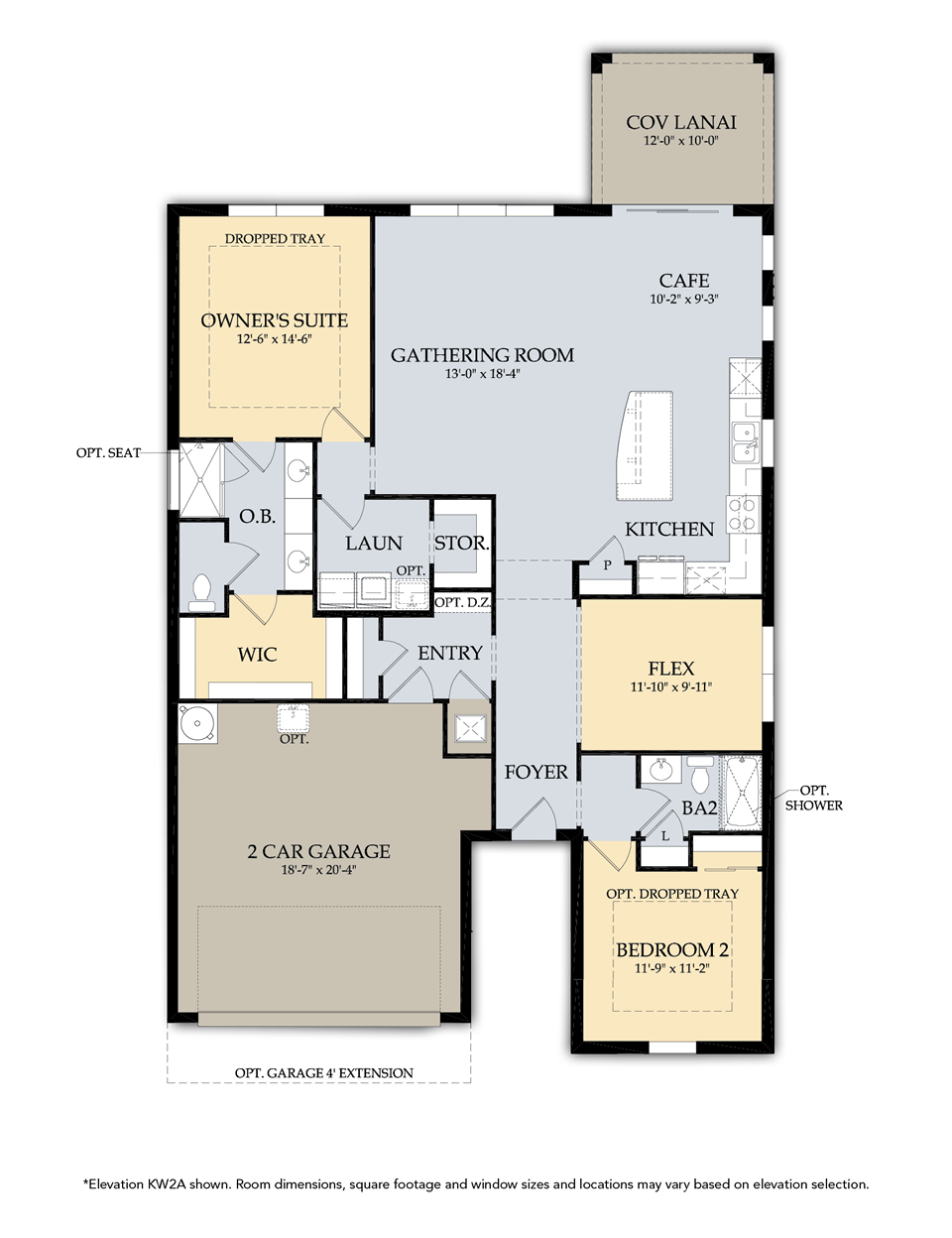 Abbeyville Floor Plan in Tidewater, Estero by Del Webb, 1,659-2,390 Square Feet, 2-4 Bedrooms / 2-3 Bathrooms, 1 Story Home