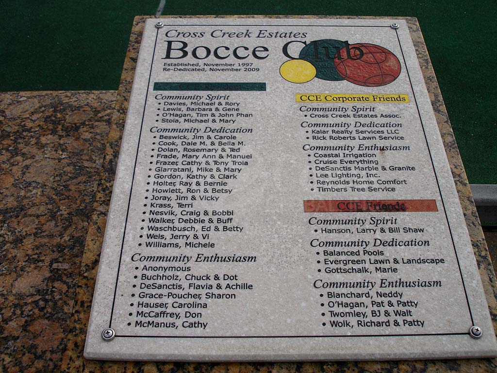 Cross Creek Estates Bocce Ball Courts
