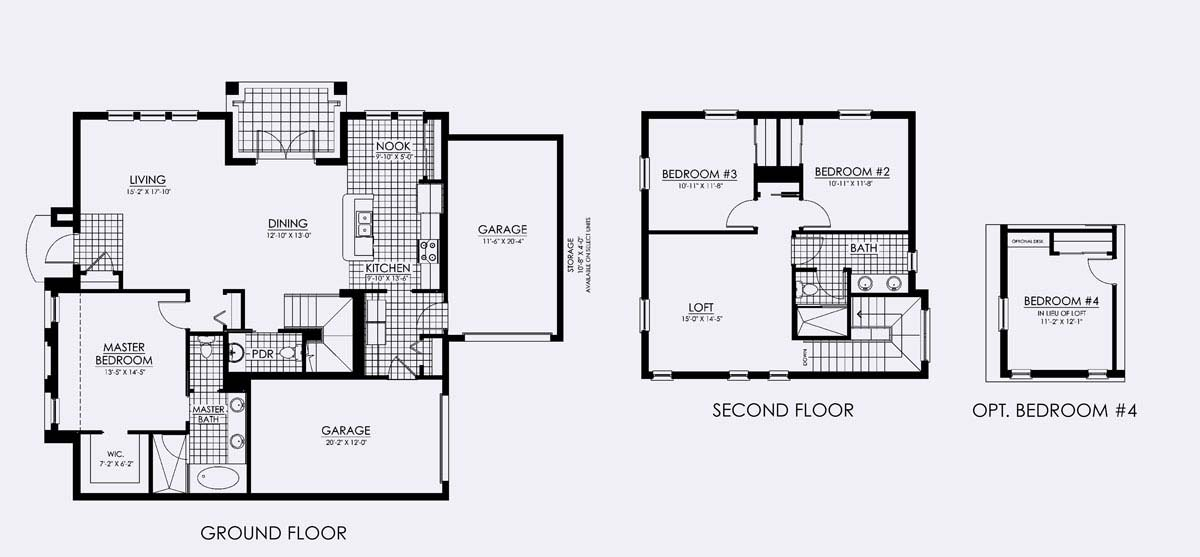 Escondido Floor Plan in Paseo,3 bedroom, 2.5 bath, living room, dining room, loft (optional 4th bedroom), and Two 1-car garages