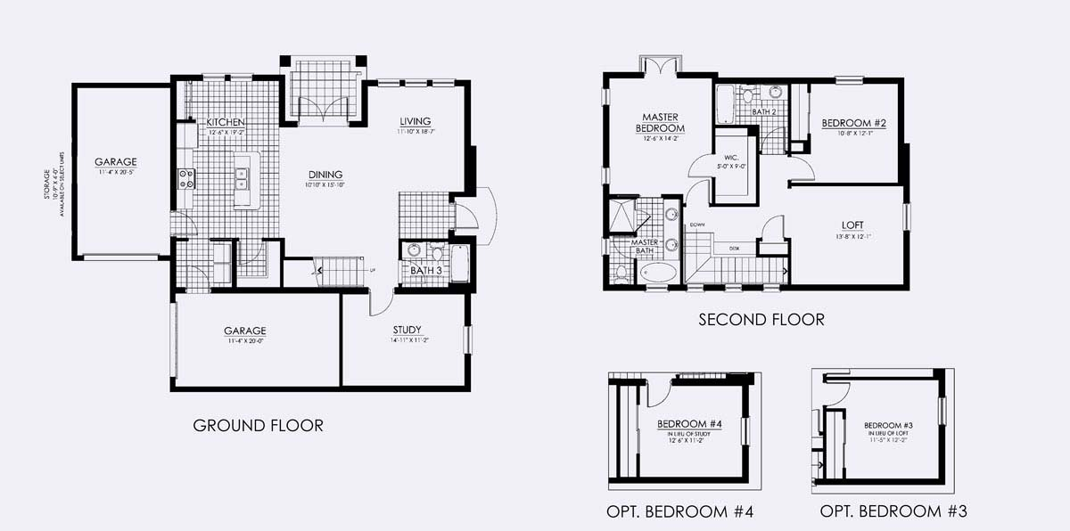 Laguna Floor Plan in Paseo,2 bedroom, 3 bath, living room, dining room, loft (optional 3rd bedroom), study (optional 4th bedroom) and Two 1-car garages