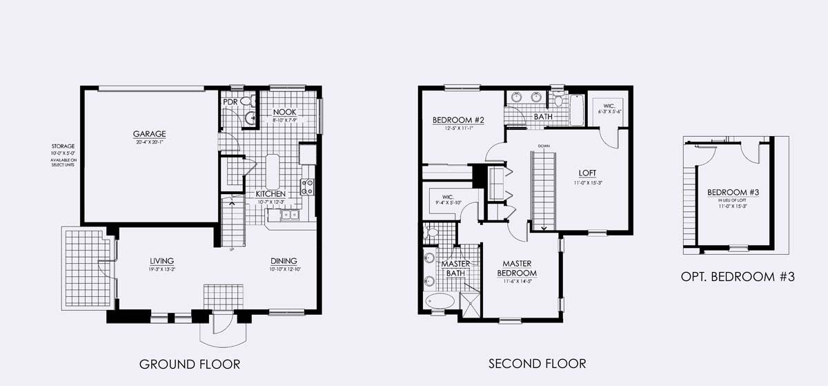 Capistrano Floor Plan in Paseo, 2 bedroom, 2.5 bath, living room, dining room, loft (optional 3rd bedroom) and 2-car garage