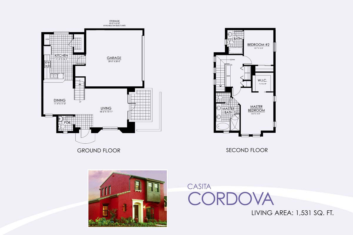 Cordova Floor Plan in Paseo, 2 bedroom, 2.5 bath, living room, dining room and 2-car garage