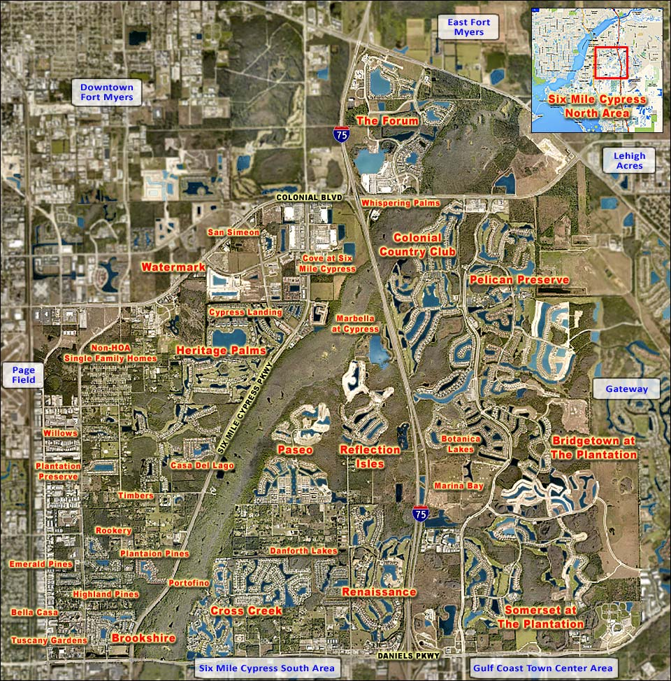 Six Mile Cypress North Area Single Family Homes New Or No HOA Overhead Map