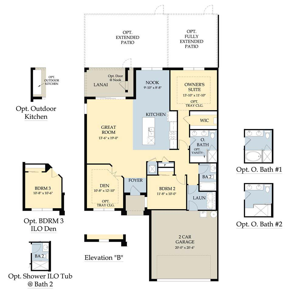 Bedford II Floor Plan in Whispering Palms, Fort Myers by Pulte Homes, 1,554 Square Feet Garden Home, 2 Bedrooms, 2 Baths