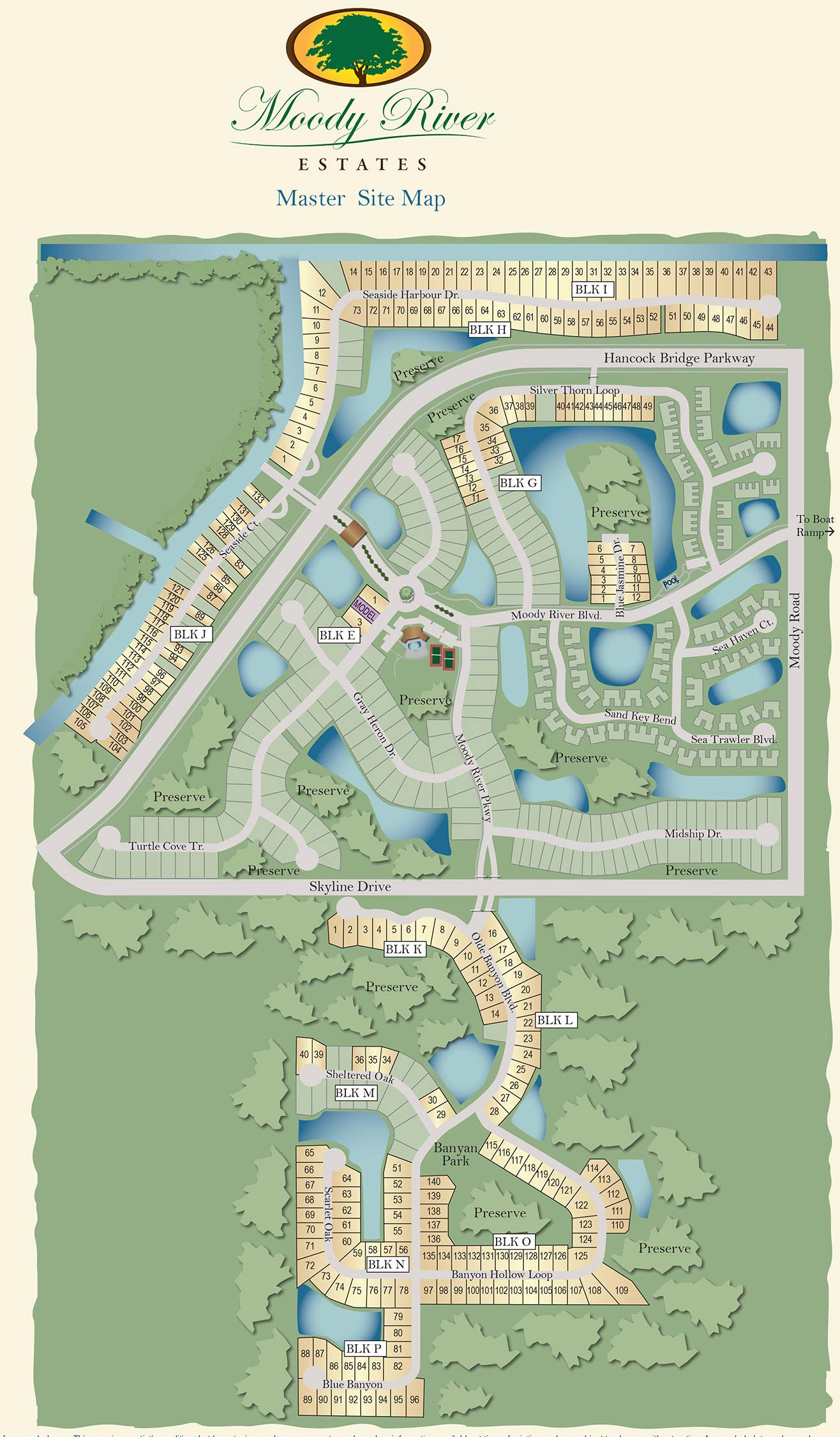 Moody River Estates Site map